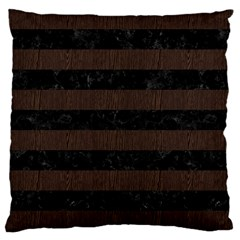 Stripes2 Black Marble & Dark Brown Wood Large Cushion Case (one Side) by trendistuff