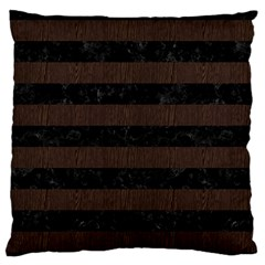 Stripes2 Black Marble & Dark Brown Wood Standard Flano Cushion Case (two Sides) by trendistuff