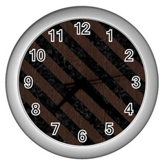 Stripes3 Black Marble & Dark Brown Wood Wall Clocks (silver)
