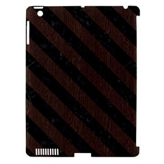 Stripes3 Black Marble & Dark Brown Wood Apple Ipad 3/4 Hardshell Case (compatible With Smart Cover) by trendistuff