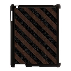 Stripes3 Black Marble & Dark Brown Wood Apple Ipad 3/4 Case (black) by trendistuff