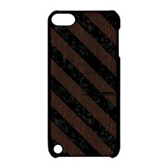 Stripes3 Black Marble & Dark Brown Wood Apple Ipod Touch 5 Hardshell Case With Stand by trendistuff