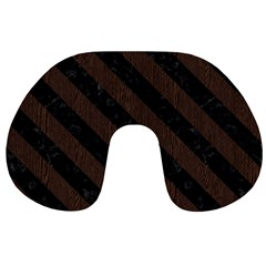 Stripes3 Black Marble & Dark Brown Wood Travel Neck Pillows by trendistuff