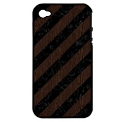 Stripes3 Black Marble & Dark Brown Wood (r) Apple Iphone 4/4s Hardshell Case (pc+silicone) by trendistuff