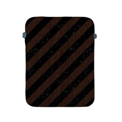 Stripes3 Black Marble & Dark Brown Wood (r) Apple Ipad 2/3/4 Protective Soft Cases by trendistuff