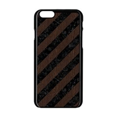 Stripes3 Black Marble & Dark Brown Wood (r) Apple Iphone 6/6s Black Enamel Case by trendistuff