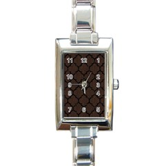 Tile1 Black Marble & Dark Brown Wood Rectangle Italian Charm Watch
