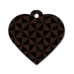 Triangle1 Black Marble & Dark Brown Wood Dog Tag Heart (one Side) by trendistuff