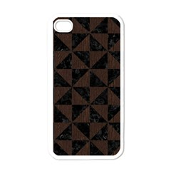 Triangle1 Black Marble & Dark Brown Wood Apple Iphone 4 Case (white)