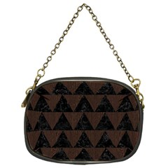 Triangle2 Black Marble & Dark Brown Wood Chain Purses (one Side)  by trendistuff