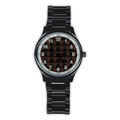 Triangle2 Black Marble & Dark Brown Wood Stainless Steel Round Watch by trendistuff
