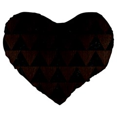 Triangle2 Black Marble & Dark Brown Wood Large 19  Premium Flano Heart Shape Cushions by trendistuff