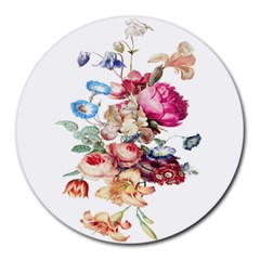 Fleur Vintage Floral Painting Round Mousepads by Celenk