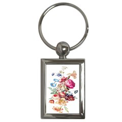 Fleur Vintage Floral Painting Key Chains (rectangle)  by Celenk