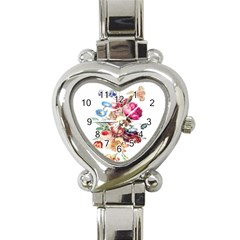 Fleur Vintage Floral Painting Heart Italian Charm Watch by Celenk