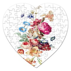 Fleur Vintage Floral Painting Jigsaw Puzzle (heart) by Celenk