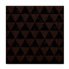 Triangle3 Black Marble & Dark Brown Wood Tile Coasters by trendistuff