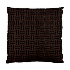 Woven1 Black Marble & Dark Brown Wood Standard Cushion Case (one Side) by trendistuff