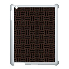 Woven1 Black Marble & Dark Brown Wood Apple Ipad 3/4 Case (white) by trendistuff
