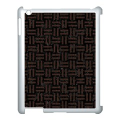 Woven1 Black Marble & Dark Brown Wood (r) Apple Ipad 3/4 Case (white) by trendistuff