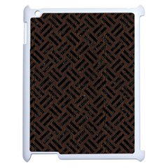 Woven2 Black Marble & Dark Brown Wood Apple Ipad 2 Case (white) by trendistuff