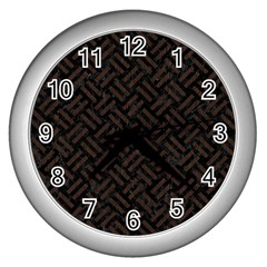 Woven2 Black Marble & Dark Brown Wood (r) Wall Clocks (silver)  by trendistuff