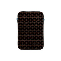 Brick1 Black Marble & Dull Brown Leather (r) Apple Ipad Mini Protective Soft Cases by trendistuff