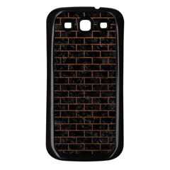 Brick1 Black Marble & Dull Brown Leather (r) Samsung Galaxy S3 Back Case (black) by trendistuff