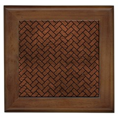 Brick2 Black Marble & Dull Brown Leather Framed Tiles by trendistuff