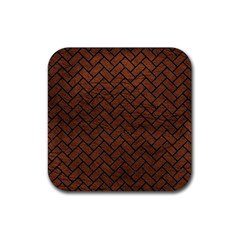 Brick2 Black Marble & Dull Brown Leather Rubber Square Coaster (4 Pack)  by trendistuff