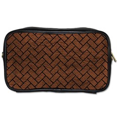 Brick2 Black Marble & Dull Brown Leather Toiletries Bags 2 Side by trendistuff