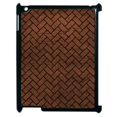 Brick2 Black Marble & Dull Brown Leather Apple Ipad 2 Case (black) by trendistuff