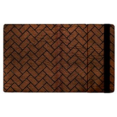 Brick2 Black Marble & Dull Brown Leather Apple Ipad 3/4 Flip Case by trendistuff