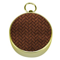 Brick2 Black Marble & Dull Brown Leather Gold Compasses by trendistuff
