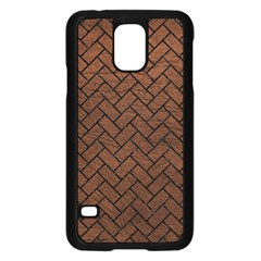Brick2 Black Marble & Dull Brown Leather Samsung Galaxy S5 Case (black) by trendistuff