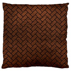 Brick2 Black Marble & Dull Brown Leather Standard Flano Cushion Case (one Side) by trendistuff