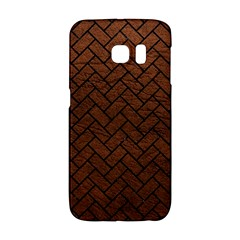 Brick2 Black Marble & Dull Brown Leather Galaxy S6 Edge