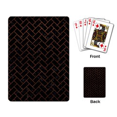 Brick2 Black Marble & Dull Brown Leather (r) Playing Card by trendistuff