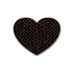 Brick2 Black Marble & Dull Brown Leather (r) Rubber Coaster (heart)  by trendistuff