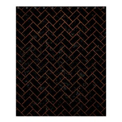 Brick2 Black Marble & Dull Brown Leather (r) Shower Curtain 60  X 72  (medium)  by trendistuff