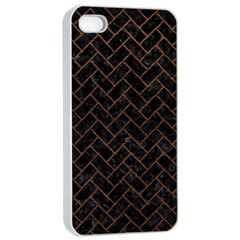 Brick2 Black Marble & Dull Brown Leather (r) Apple Iphone 4/4s Seamless Case (white) by trendistuff