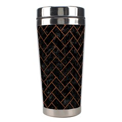 Brick2 Black Marble & Dull Brown Leather (r) Stainless Steel Travel Tumblers by trendistuff