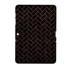 Brick2 Black Marble & Dull Brown Leather (r) Samsung Galaxy Tab 2 (10 1 ) P5100 Hardshell Case  by trendistuff