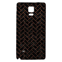 Brick2 Black Marble & Dull Brown Leather (r) Galaxy Note 4 Back Case by trendistuff