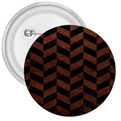 Chevron1 Black Marble & Dull Brown Leather 3  Buttons by trendistuff