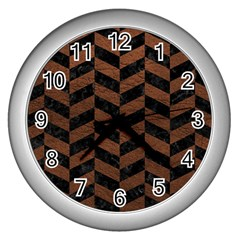 Chevron1 Black Marble & Dull Brown Leather Wall Clocks (silver)  by trendistuff