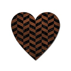 Chevron1 Black Marble & Dull Brown Leather Heart Magnet by trendistuff