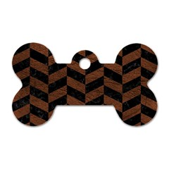 Chevron1 Black Marble & Dull Brown Leather Dog Tag Bone (one Side) by trendistuff