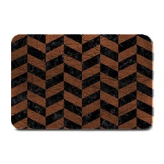 Chevron1 Black Marble & Dull Brown Leather Plate Mats by trendistuff