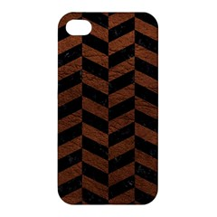 Chevron1 Black Marble & Dull Brown Leather Apple Iphone 4/4s Premium Hardshell Case by trendistuff